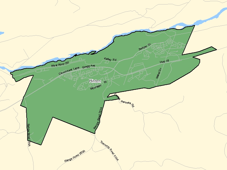 Map: Hinton, Population Centre (shaded in green), Alberta
