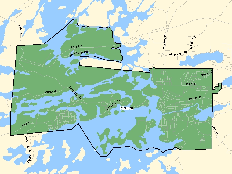 Map: Kenora, Population Centre (shaded in green), Ontario