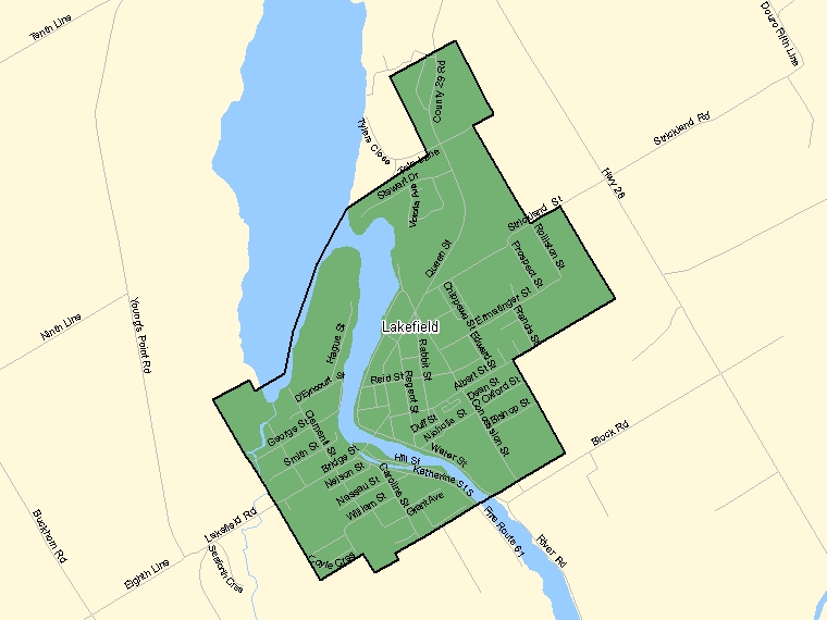 Map: Lakefield, Population Centre (shaded in green), Ontario