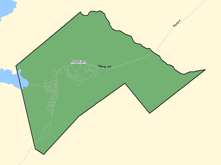 Map: McAdam, Population Centre (shaded in green), New Brunswick