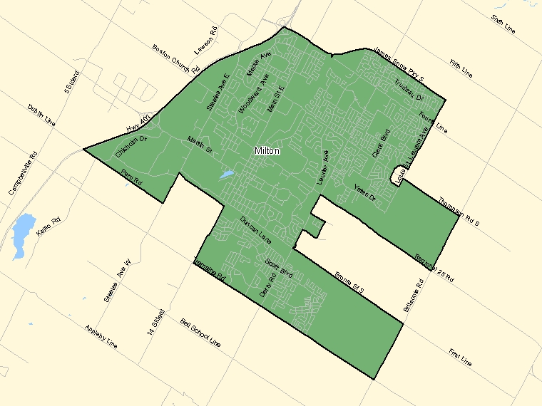 Map: Milton, Population Centre (shaded in green), Ontario