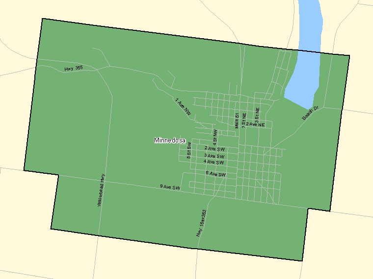 Map: Minnedosa, Population Centre (shaded in green), Manitoba