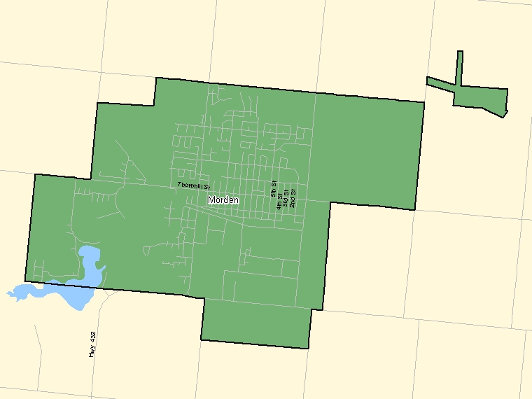 Map: Morden, Population Centre (shaded in green), Manitoba