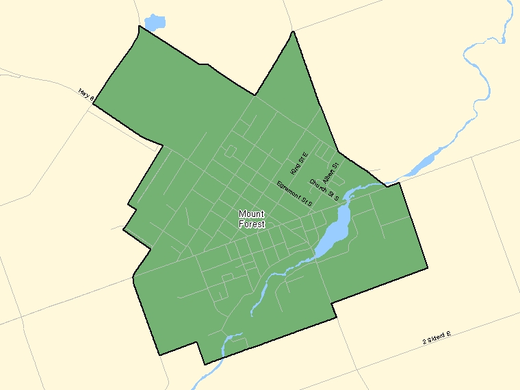 Map: Mount Forest, Population Centre (shaded in green), Ontario