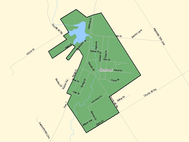 Map: Norwood, Population Centre (shaded in green), Ontario