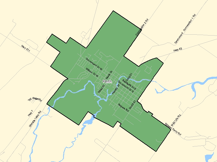 Map: Perth, Population Centre (shaded in green), Ontario