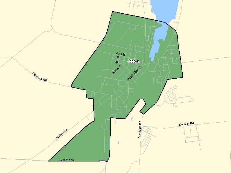 Map: Picton, Population Centre (shaded in green), Ontario