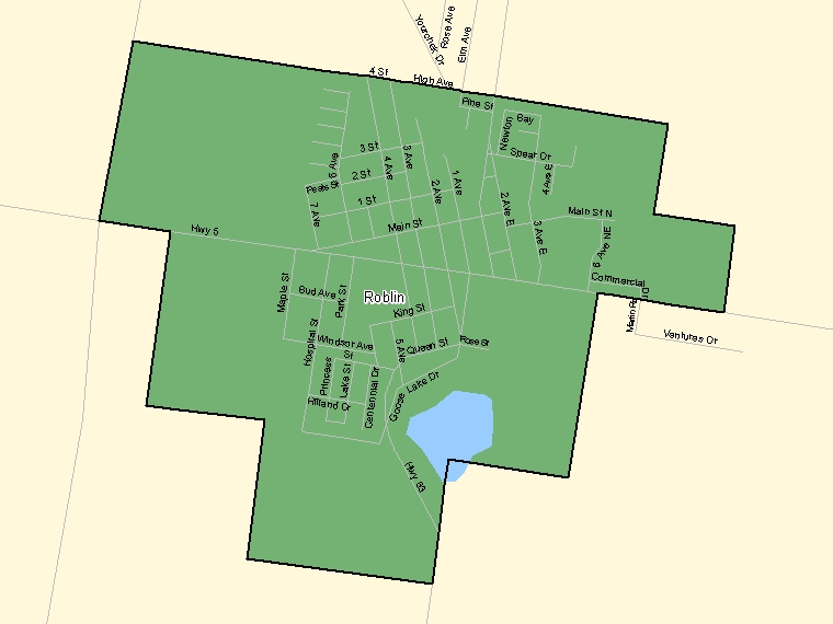 Map: Roblin, Population Centre (shaded in green), Manitoba