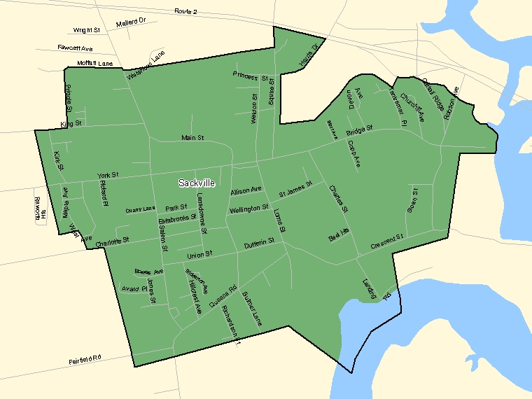 Map: Sackville, Population Centre (shaded in green), New Brunswick