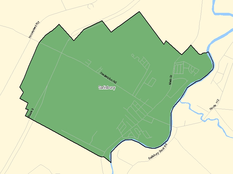 Map: Salisbury, Population Centre (shaded in green), New Brunswick