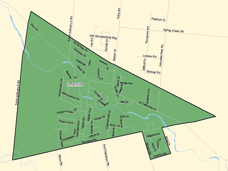 Map: Smithville, Population Centre (shaded in green), Ontario