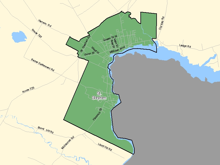Map: St. Stephen, Population Centre (shaded in green), New Brunswick