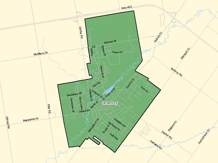 Map: Strathroy, Population Centre (shaded in green), Ontario