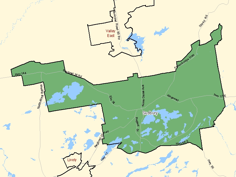 Map: Sudbury, Population Centre (shaded in green), Ontario