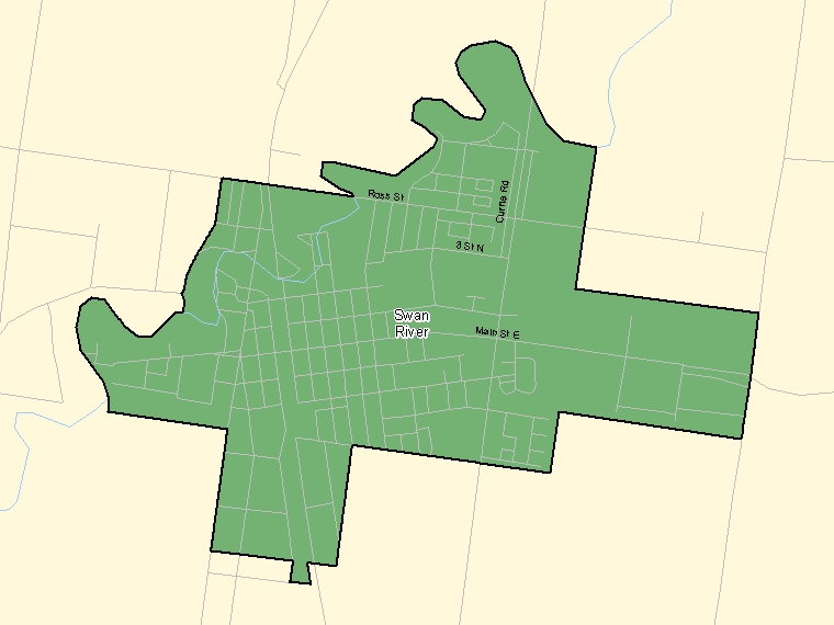 Map: Swan River, Population Centre (shaded in green), Manitoba