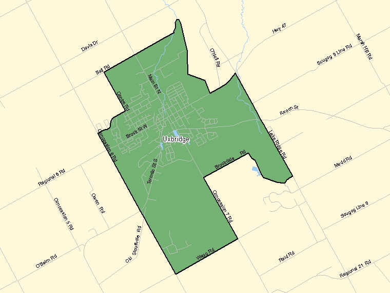 Map: Uxbridge, Population Centre (shaded in green), Ontario