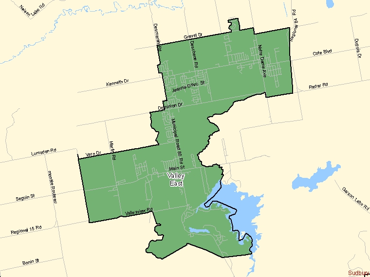 Map: Valley East, Population Centre (shaded in green), Ontario