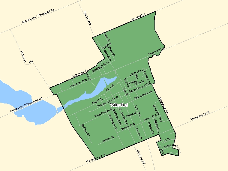 Map: Waterford, Population Centre (shaded in green), Ontario