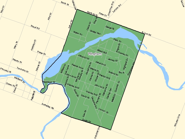 Map: Wingham, Population Centre (shaded in green), Ontario