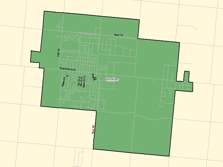 Map: Winkler, Population Centre (shaded in green), Manitoba