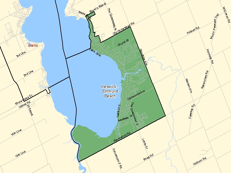 Map: Keswick - Elmhurst Beach, Population Centre (shaded in green), Ontario