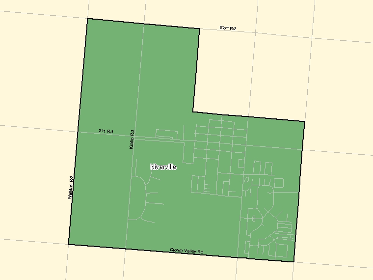 Map: Niverville, Population Centre (shaded in green), Manitoba