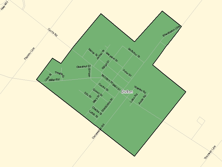 Map: Dutton, Population Centre (shaded in green), Ontario