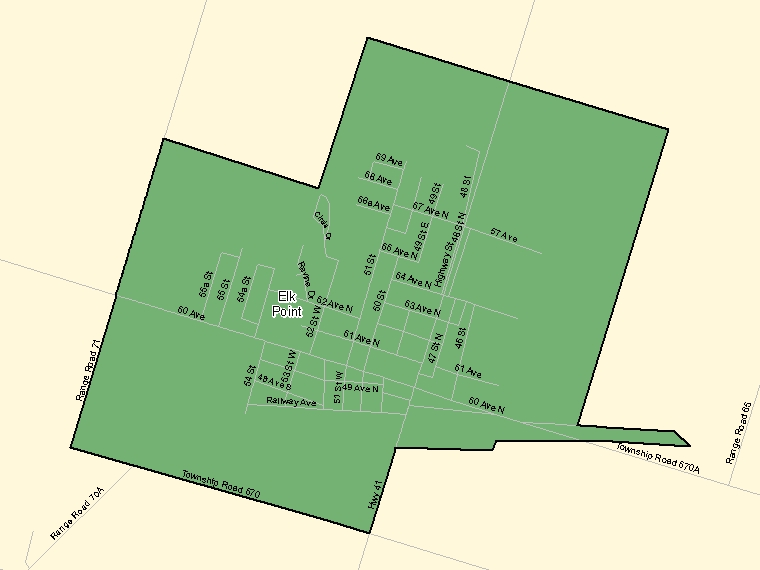Map: Elk Point, Population Centre (shaded in green), Alberta