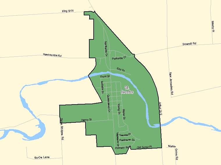 Map: St. Jacobs, Population Centre (shaded in green), Ontario