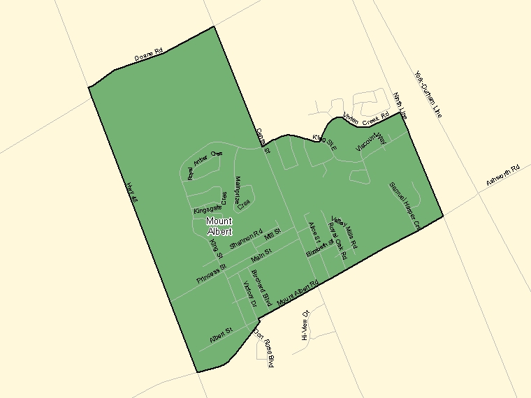Map: Mount Albert, Population Centre (shaded in green), Ontario