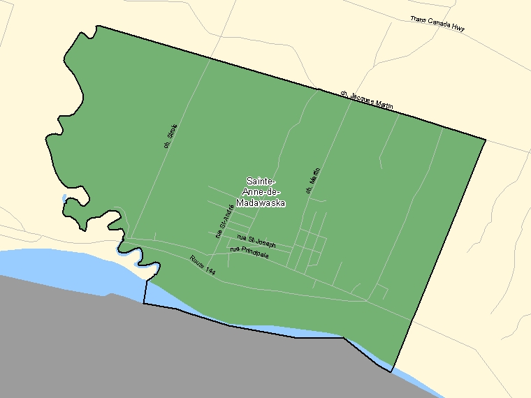 Map: Sainte-Anne-de-Madawaska, Population Centre (shaded in green), New Brunswick