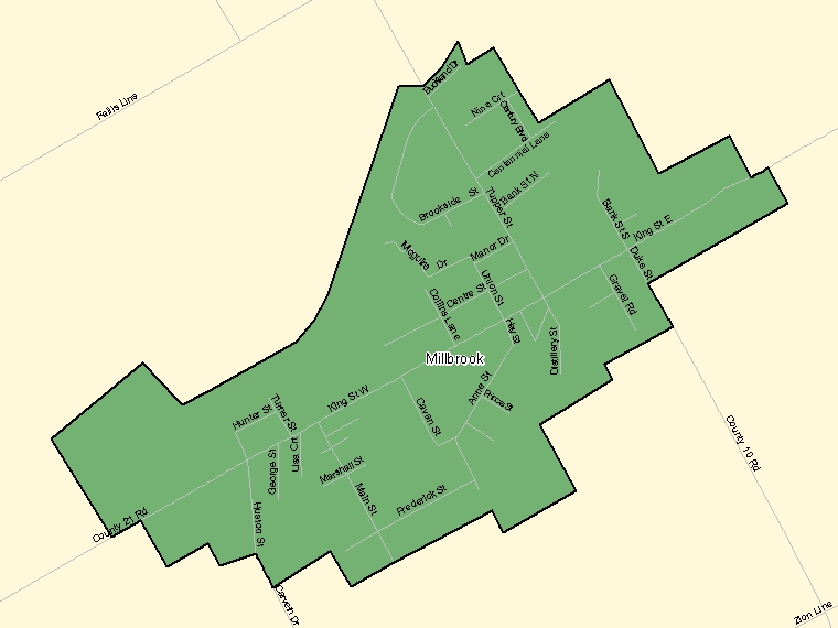 Map: Millbrook, Population Centre (shaded in green), Ontario