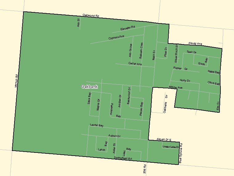 Map: Oakbank, Population Centre (shaded in green), Manitoba