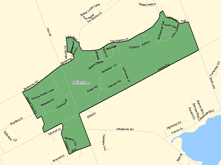 Map: Ballantrae, Population Centre (shaded in green), Ontario