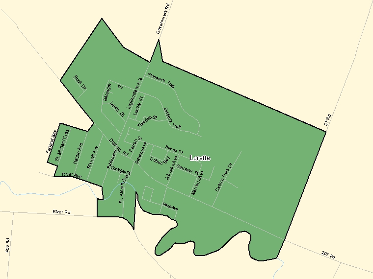 Map: Lorette, Population Centre (shaded in green), Manitoba