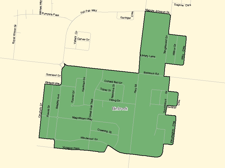 Map: Binbrook, Population Centre (shaded in green), Ontario