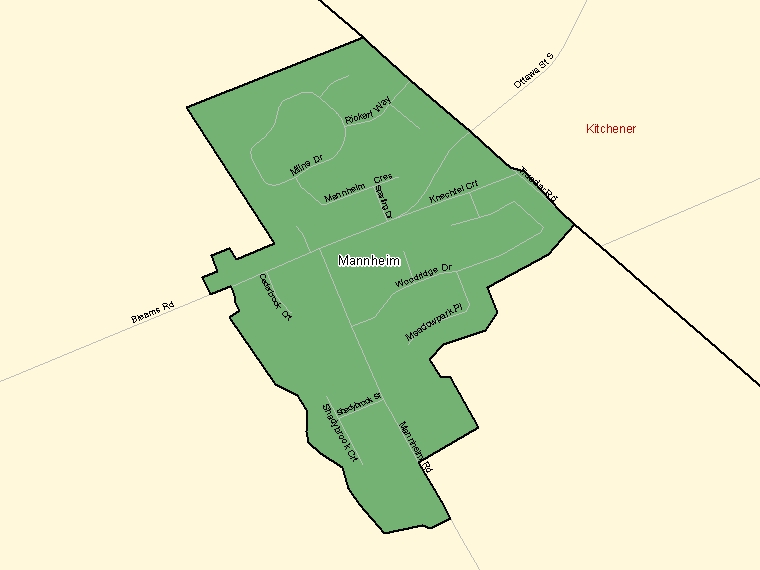 Map: Mannheim, Population Centre (shaded in green), Ontario